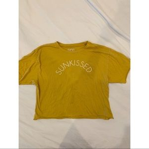 "Cropped yellow ""Sunkissed"" tee"